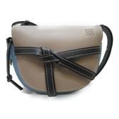 LOEWE 羅威 駝色淡藍色牛皮黑色背帶肩背包 馬鞍包 Gate Bag 【二手品牌 BRAND OFF】
