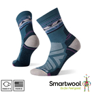 【SmartWool 美國 女 機能戶外全輕量減震民族風印花中筒襪《普魯士藍》】SW001580/運動襪/戶外襪