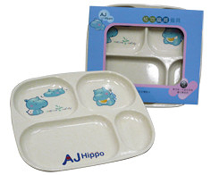 【奇買親子購物網】AJ Hippo 小河馬【環保植物纖維餐具】四格方盤【耐摔、可微波】