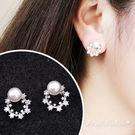 銀針耳環《可改耳夾式》簡約甜甜圈珍珠鋯石防過敏耳針 (SRA0094) AngelNaNa
