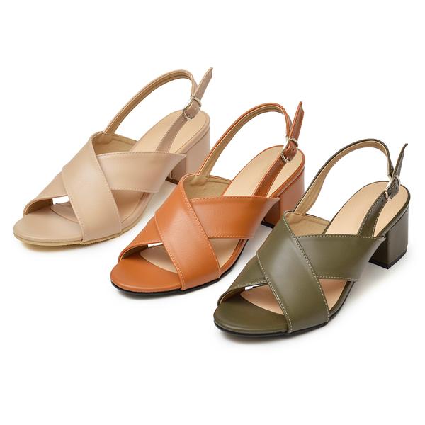 訂製鞋 MIT交叉寬帶中跟涼鞋-棕