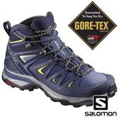 【SALOMON 法國】女X ULTRA3 GTX中筒登山鞋WIDE『藍/綠』401296 越野鞋.健行鞋.戶外.露營