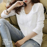 SISI【L7095】簡約氣質休閒V領雙口袋寬鬆長袖純色顯瘦竹節衫T恤上衣