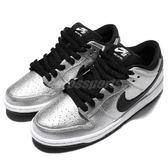 Nike 滑板鞋 Dunk Low Premium SB Cold Pizza 銀 黑 氣墊設計 休閒鞋 運動鞋 男鞋【PUMP306】 313170-024