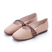 MICHELLE PARK 鄰家女孩 柔軟牛皮雙字帶飾扣包鞋-奶茶