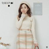 東京著衣-tokichoi-高CP微高領蕾絲拼接坑條針織上衣(191740)
