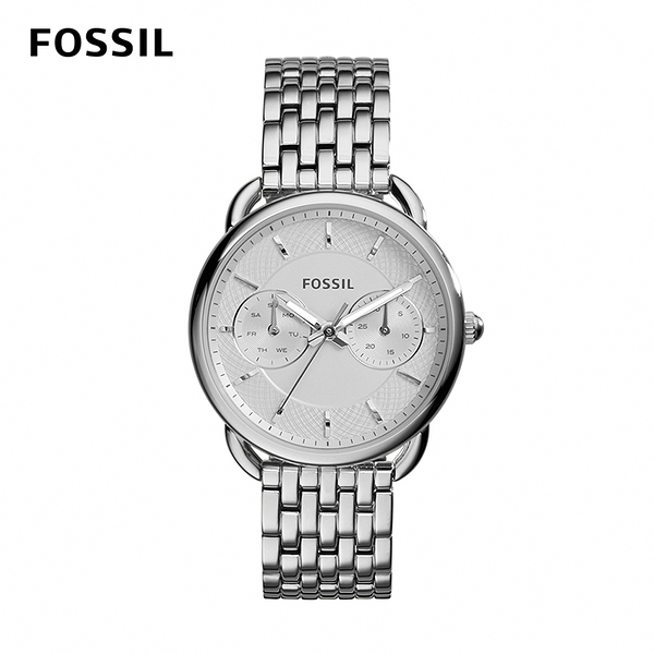 FOSSIL TAILOR 兩眼多功能不鏽鋼女錶-銀色 35mm