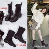 馬丁靴女春秋季英倫風前拉鍊女靴粗跟舒適短靴保暖中筒靴單靴 【東京衣秀】