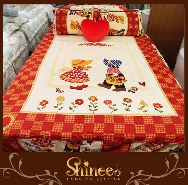 原價1980元↘SHINEE 台灣製 100%精梳棉(童言花語)標準雙人床包三件組(床包x1+枕套x2)
