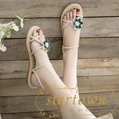 兩穿涼鞋夏沙灘花朵拖鞋女外穿平底學生百搭穆勒鞋【繁星小鎮】