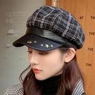 鴨舌帽 新款女士春秋季時尚鴨舌帽五角星皮革八角貝雷帽戶外旅游時裝帽子