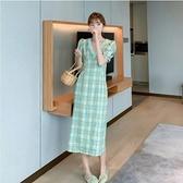 洋裝短袖v領裙子甜美S-XL新款綠格子連身裙泡泡袖法式複古少女顯瘦氣質桔梗裙H325-9089.胖胖唯依