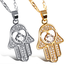《 QBOX 》FASHION 飾品【C100N632】 精緻秀氣掌上明珠微鑲鋯石鍍白金墬子項鍊(二色)