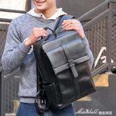 袋鼠潮流時尚休閒青年雙肩包男士背包日韓版大容量黑色PU皮書包男              蜜拉貝爾