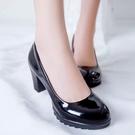女鞋中跟鞋亞光圓頭淺口黑色皮鞋粗跟漆皮高跟鞋媽媽職業工作鞋中跟單鞋女夏 萊俐亞