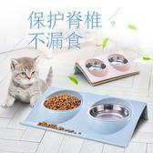 保護脊椎寵物斜口碗貓碗不銹鋼貓食盆貓糧碗狗飯盆雙碗貓咪用品     多莉絲旗艦店