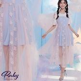 洋裝 甜美撞色吊帶刺繡網紗層次無袖長洋裝-Ruby s 露比午茶
