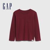 Gap男幼童 活力亮色圓領休閒長袖T恤 577619-暗紅色