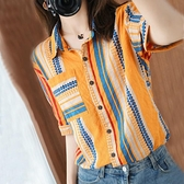 上衣夏裝女 100%純棉夏季新款條紋襯衫上衣設計感小眾休閒麻棉短袖潮流襯衣女