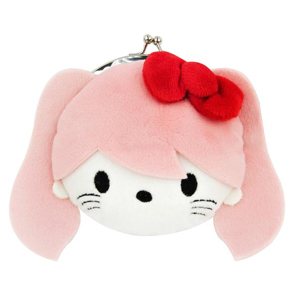 Hello Kitty零錢包 粉色絨毛臉型口金包/零錢包/收納包 [喜愛屋]