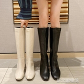 ins機車靴女秋冬新平底長筒靴不過膝長靴高筒帥氣騎士靴 新北購物城