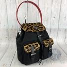 BRAND楓月 PRADA 普拉達 黑色 帆布 金 豹紋 拚色 皮飾 紅色提把 後背包造形 登山包 肩背包 手提包