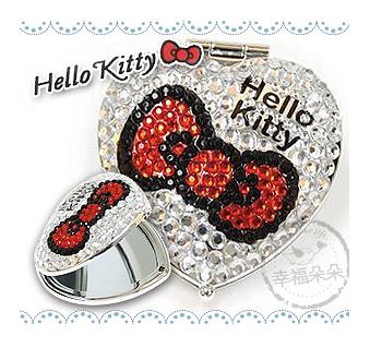 幸福朵朵【日本進口凱蒂貓HELLO KITTY亮鑽心型隨身鏡(紅) 】隨身攜帶可愛有型 bring bring!