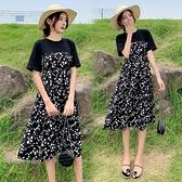 漂亮小媽咪 假兩件雛菊洋裝 【D6368】 短袖 拼接 雪紡 拼接 假二件 雪紡裙 洋裝 M-XL 孕婦裝