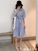 襯衫洋裝 夏季2021新款寬鬆中長款收腰顯瘦條紋POLO領氣質連衣裙女襯衫裙子 歐歐