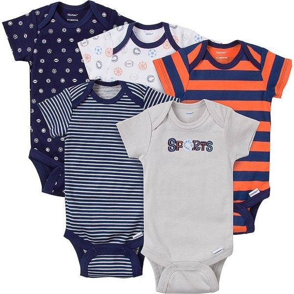 包屁衣 Gerber Childrenswear 短袖包屁衣 / 哈衣 超值5件組 - 深藍橘條紋球類 5215-0797