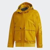 Adidas FUNC 男裝 外套 連帽 休閒 內刷毛 保暖 多口袋 可調節衣領束帶 芥末黃【運動世界】GM4402