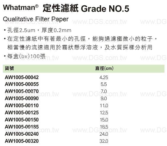 《Whatman?》定性濾紙 Grade NO.5 Qualitative Filter Paper