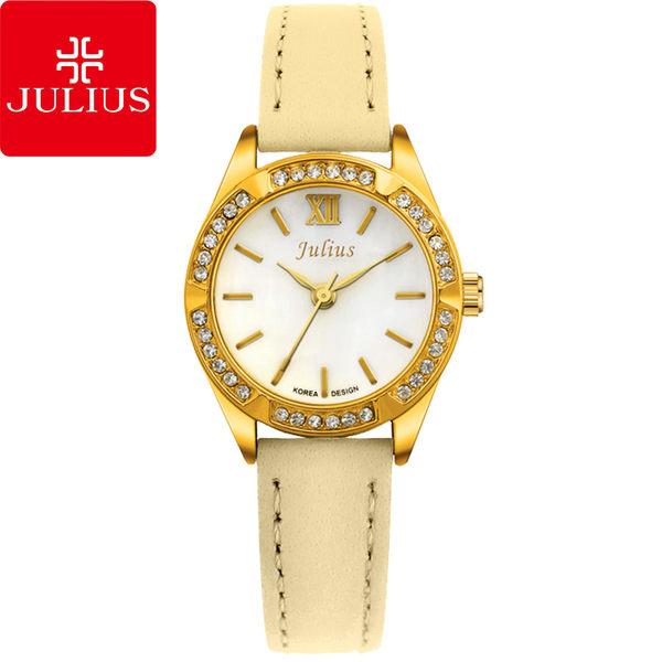 JULIUS 聚利時 六個願望水鑽皮帶腕錶-米黃色/26mm 【JA-730D】
