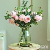 仿真玫瑰花束高檔客廳臥室辦公桌裝飾擺件假花婚慶絹花裝飾花 AW1644『愛尚生活館』