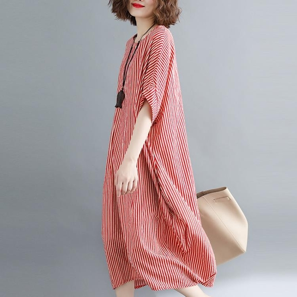 大尺碼洋裝 大蘿莉大碼女裝夏季豎條紋寬鬆短袖棉麻連身裙女氣質顯瘦a字裙子