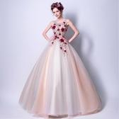 晚宴洋裝 華麗爛漫晚宴服 深色紅花朵 刺繡新娘 婚紗禮服 晚宴敬酒服 萬聖節鉅惠