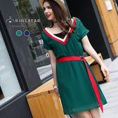 雪紡洋裝--學院風青春活潑V領腰帶修飾兩件式雪紡洋裝(藍.綠L-3L)-D481眼圈熊中大尺碼