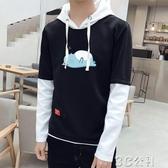 長袖襯衫 t恤男長袖薄款假兩件春秋季日系青少年中學生韓版寬鬆運動打底衫 3C公社