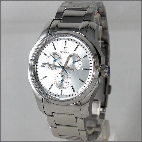 【萬年鐘錶】SIGMA日系 三眼時尚錶 1018M-2