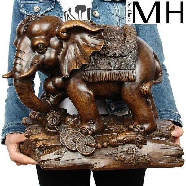 大象擺件一對招財風水客廳家居裝飾品辦公室開業禮品工藝品擺設