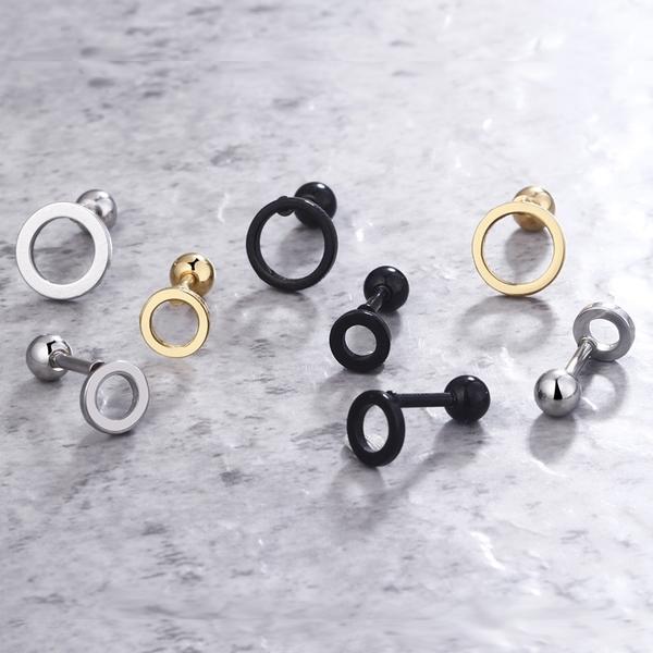 [Z-MO鈦鋼屋]幾何造型耳環/圓形設計/好友禮物推薦/簡約氣質必備款/單個價【ECS091】