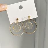 特賣耳環S925銀針韓國復古時髦金幾何波浪圓環耳釘女金箔耳環耳夾859