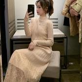 蕾絲拼接連身裙女秋冬內搭中長款半高領毛衣打底針織裙子【聚可愛】