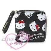 ♥小花花日本精品♥ HELLOKITTY 45週年系列短夾 黑色滿版凱蒂貓造型短夾 錢包 拉鍊式58708002