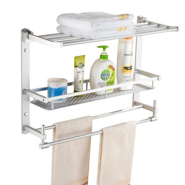 太空鋁浴室四合一置物架 多功能三層收納架 廁所毛巾架 浴巾架 掛勾架【DA325】《約翰家庭百貨