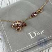 BRAND楓月 Christian Dior迪奧 淡紫色 水晶 落葉 造型 金色 項鍊 飾品 配件 墜鍊
