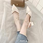 涼鞋女2020年夏季新款粗跟高跟鞋中跟一字帶仙女風包頭女單鞋 提拉米蘇