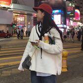 毛衣秋冬韓版學院風下擺開叉V領百搭慵懶風毛衣女套頭寬鬆學生上衣『櫻花小屋』