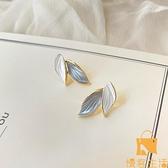 925銀針耳環潮葉子原創設計時尚鍍金耳釘耳夾【慢客生活】