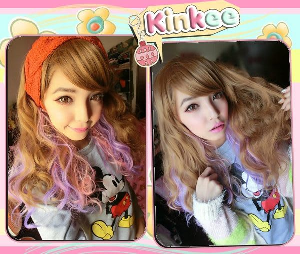 *╮Kinkee假髮╭*MIKIYO示範 日本益若翼造型 三色粉紫MIX 三管電棒中長捲髮【K0098】